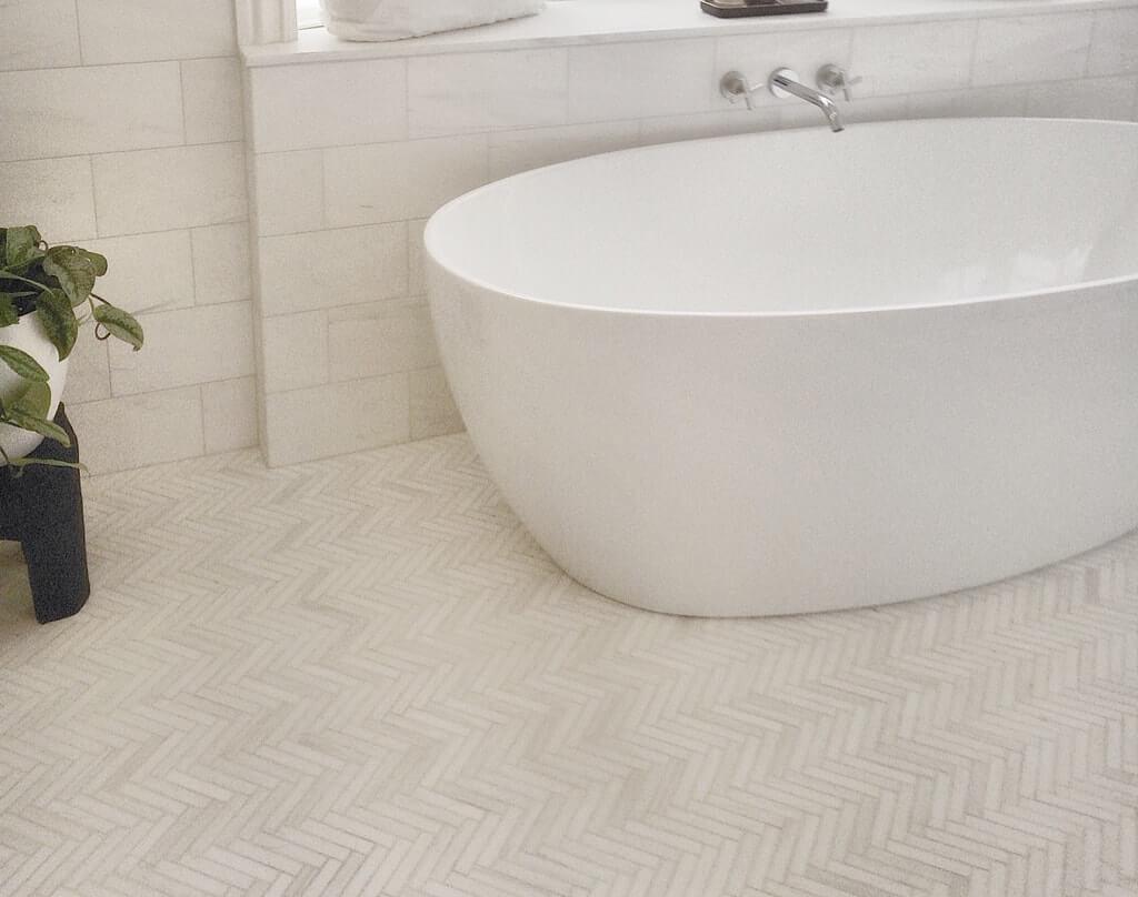 White Elegant Herringbone 34x4 and 6x12